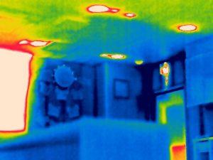 天井結露のサーモグラフィ画像