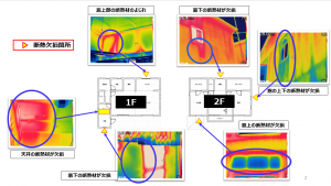 高性能な赤外線カメラで断熱欠損の箇所を撮影した赤外線写真